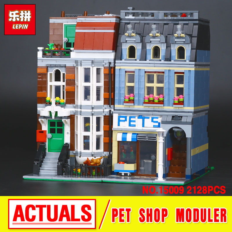 LEPIN 15009  City Street  Pet Shop Model Building Kid Blocks  bricks Assembling toys compatible 10218 Educational Toy Funny Gift lepin 16008 creator cinderella princess castle city 4080pcs model building block kid toy gift compatible 71040