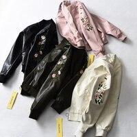 Femmes À La Mode de Rose Floral Brodé PU Veste En Cuir À Manches Longues Manteau