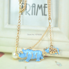 hot deal buy rhinoceros baby mother bead sweater necklace women jewelry long pendant necklacerhinestone chain christmars valentine day gift