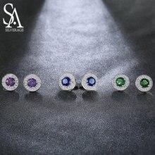 SA SILVERAGE 925 Sterling Silver Gemstone Stud Earrings for Women 925 Silver Earrings sets Fine Jewelry Three Colors Pendientes