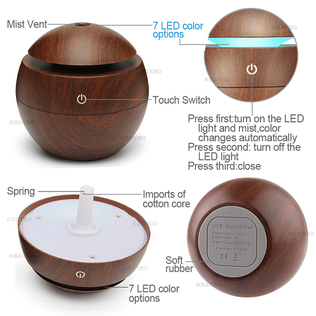 USB Aroma Essential Oil Diffuser Ultrasonic Cool Mist Humidifier Air Purifier 7 Color Change LED Night light for Office Home 3