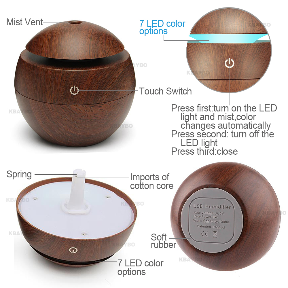 Wood Usb Air Humidifier With Led Eucalyptus Care 100