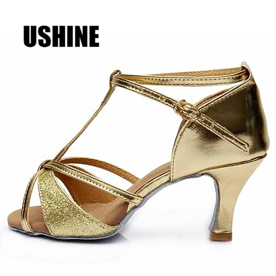 Golden Heel 7cm Salsa Tango Latin Dance Shoes Woman Zapatos De Baile Latino Mujer 809 Free Shipping