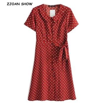 2019 New Peter pan collar Polka Dot print Single-breasted Dress French Women Short Sleeve Long Dresses Retro Femme Vestido Red