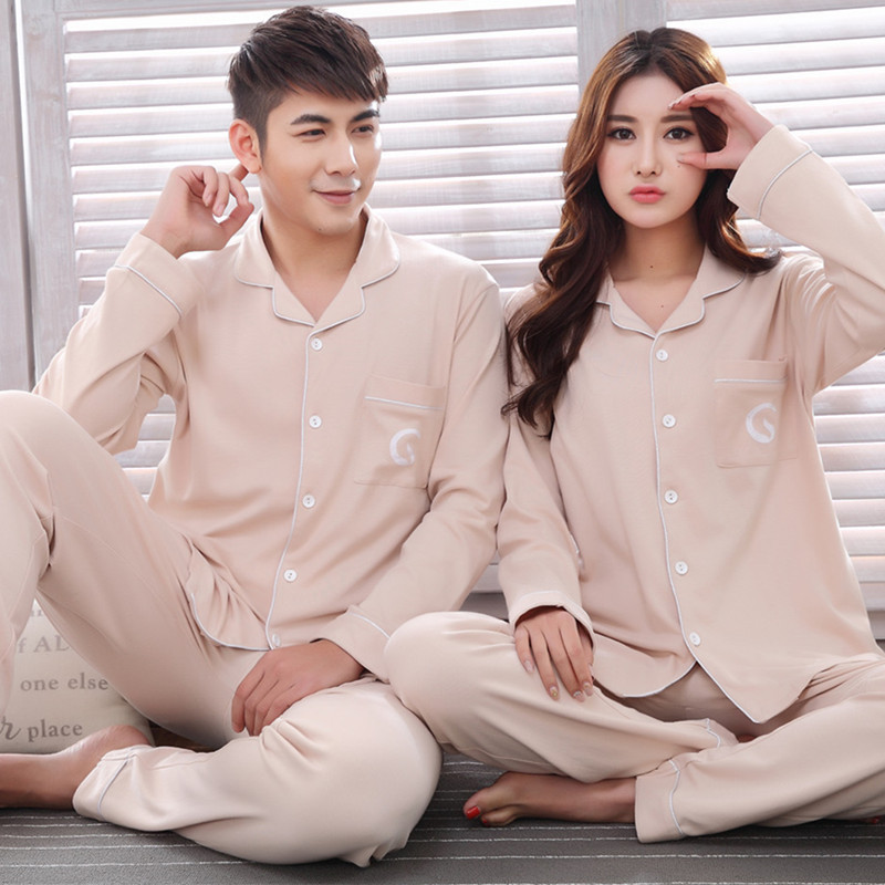 c0b3b2c06e Tony Candice 2018 New Arrival Couple Pajamas Set 100% Cotton Women  Sleepwear Soft Men Nightgown Long Sleeve In Autumn Pyjamas-in Pajama Sets  from Underwear ...