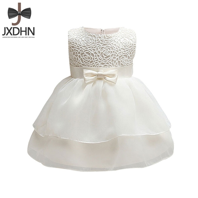 White Baptism Formal Wedding Flower Baby Girls Infant Dress 1 2