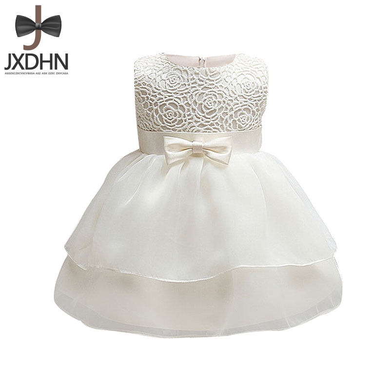 White Baptism Formal Wedding Flower Baby Girls Infant Dress 1 2 Birthday Party Newborn Dresses Girl Clothes Princess Kids Dress