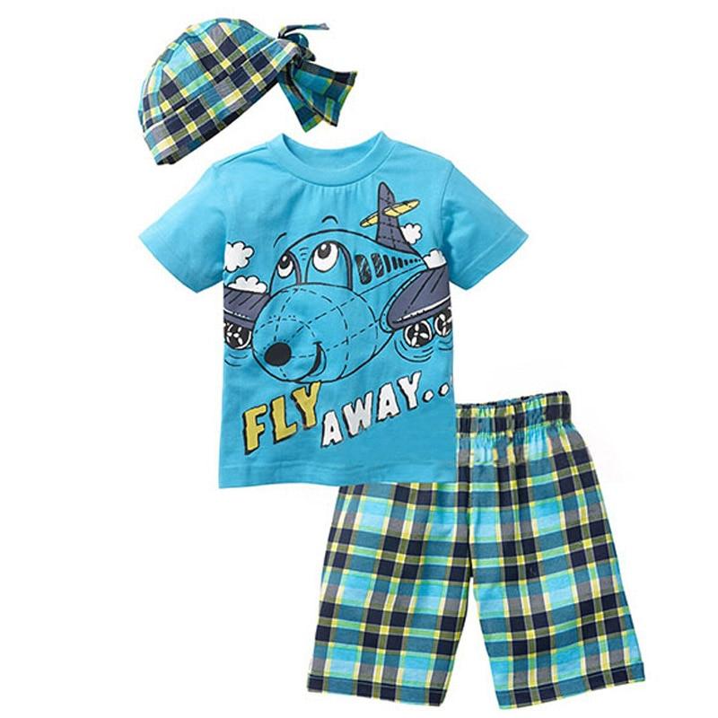 New summer fashion Cartoon suits Baby boys clothing sets 2017 boys clothes children clothes 3pcs suit( hat+ t-shirt+shorts)