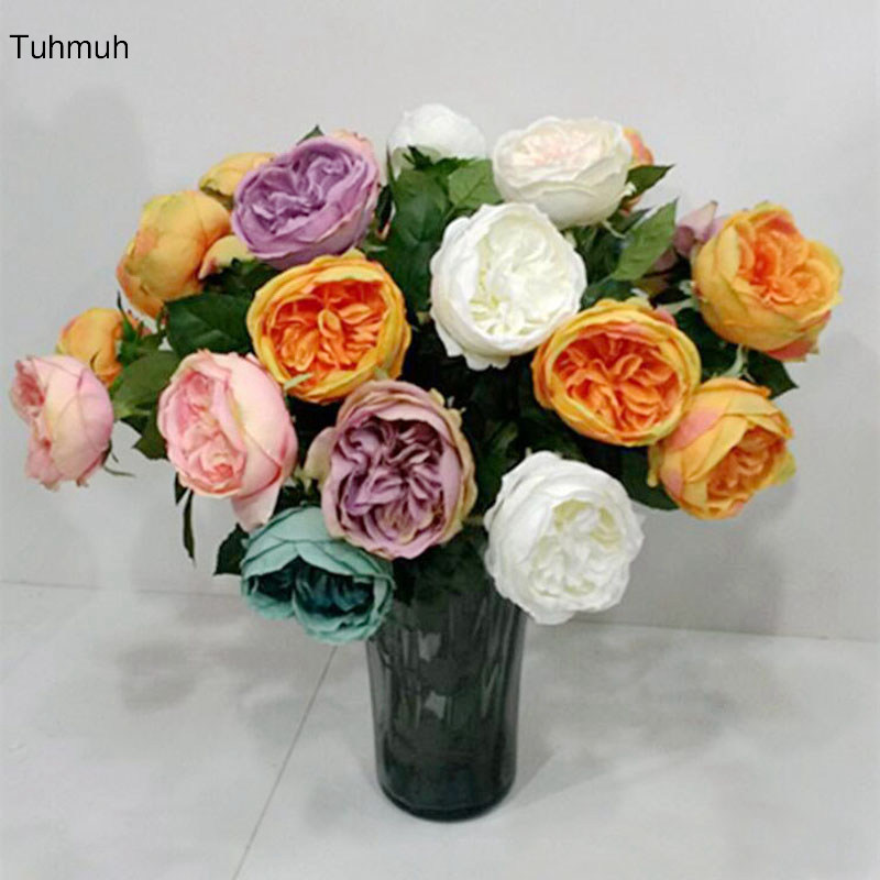 64cm Long Silk Artificial Austin Rose Flowers 10cm Single Head Fake Flower Wedding Bouquet Home Vase Decoration 8pcs 6 Colors fake rose flowers