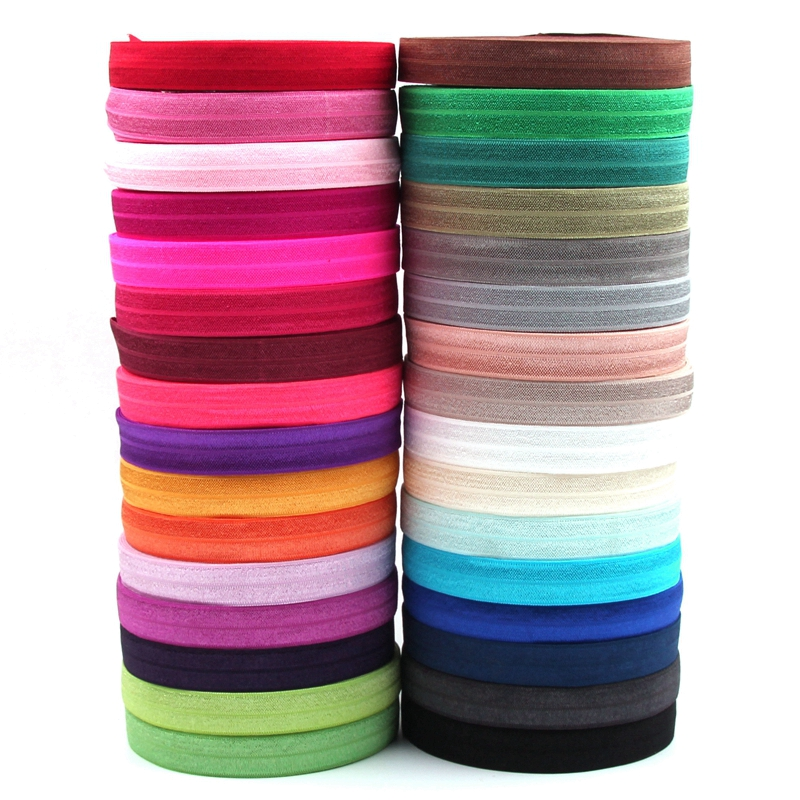 32Colors Fold Over Elastic 10 yd/color 5/8 inch FOE Shiny for elastic Headbands Hair Tie   Headwear   DIY Handmade Ribbon Accessory