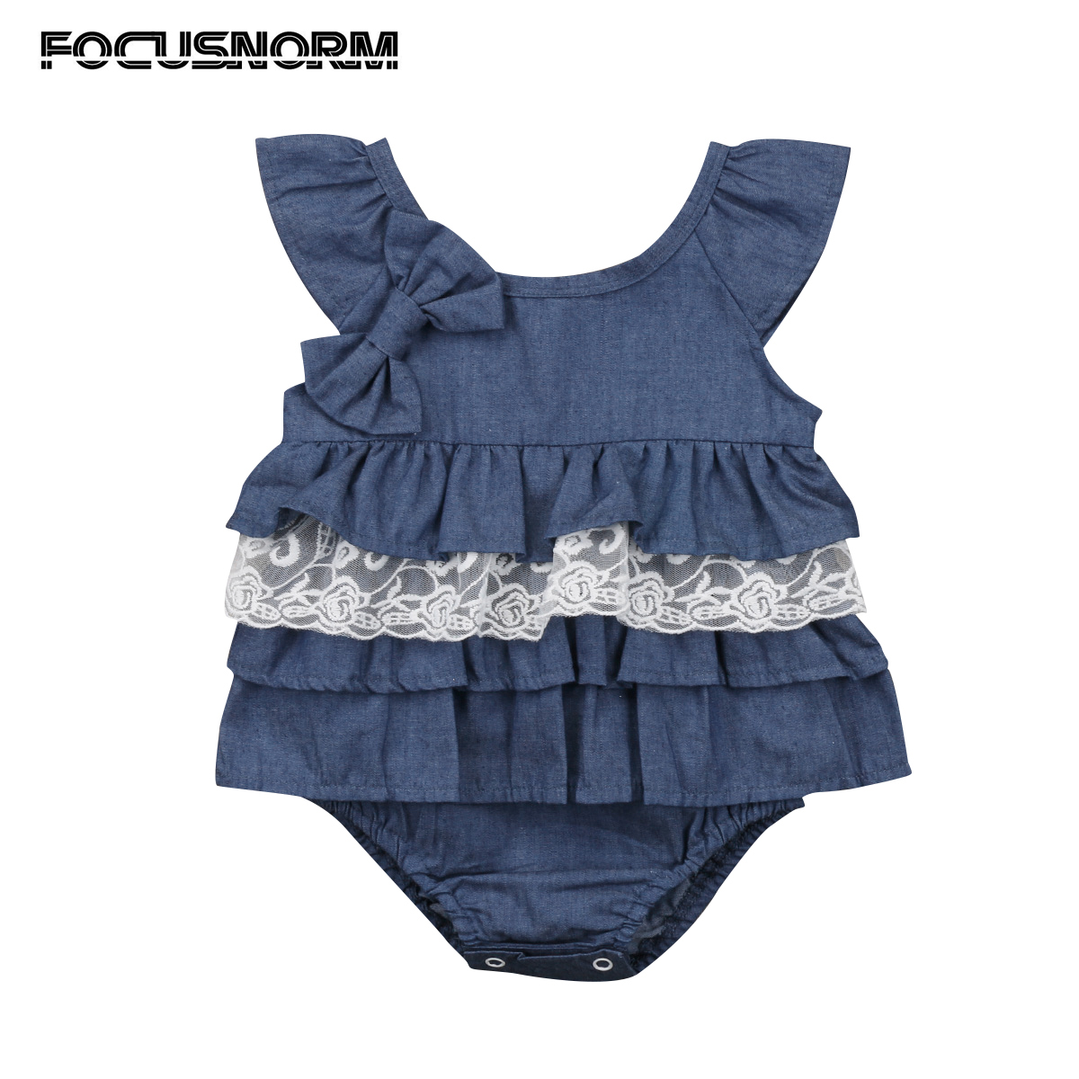 Christmas Newborn Infant Baby Girls Xmas Clothes Denim Bow Flying Sleeves Lace Layered Bodysuit Jumpsuit Outfits