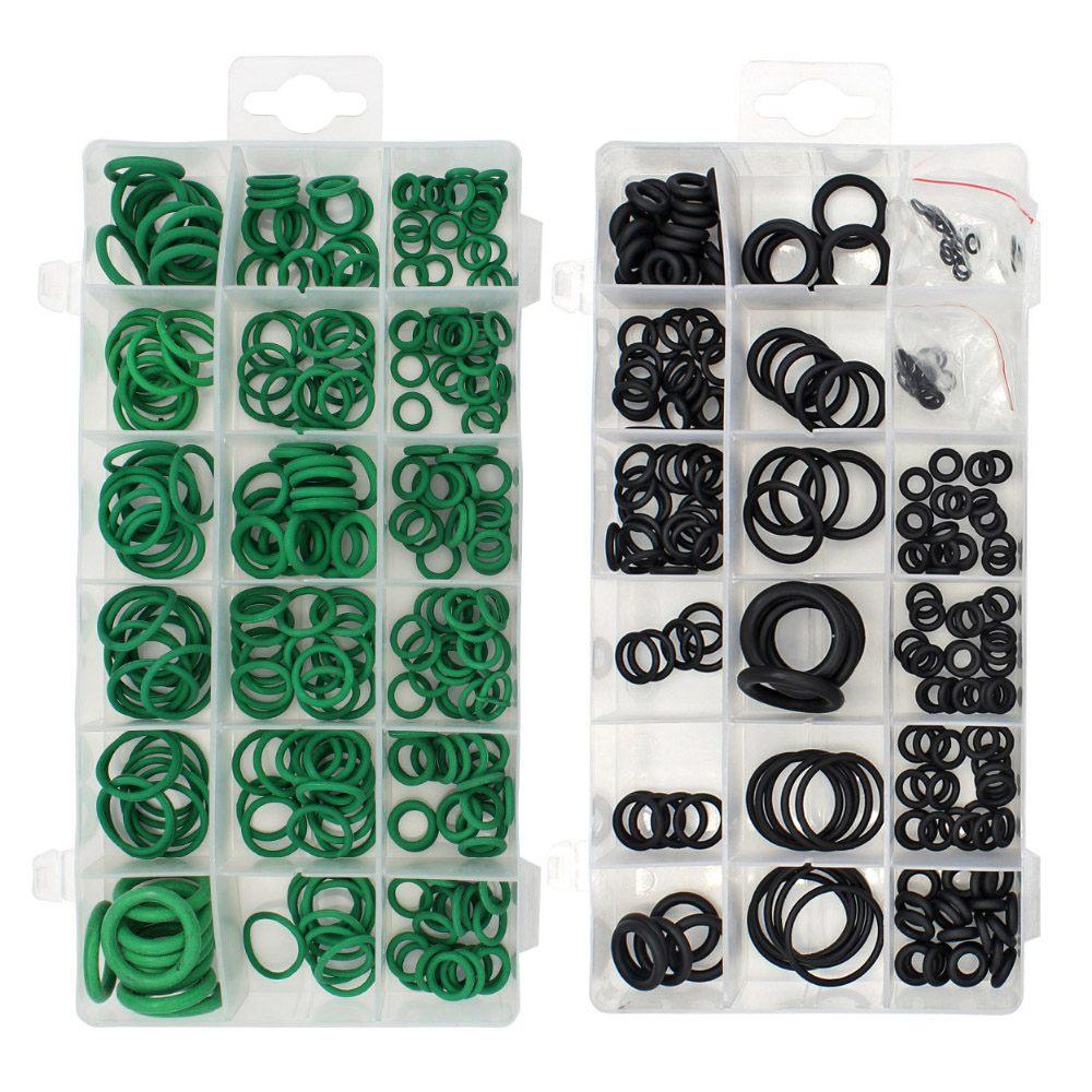 495 unidades/pacote 36 Tamanhos Kit-ring Black & Verde Métrica O anel de Vedação De Borracha O anel Juntas de Estanqueidade resistência de óleo Sortimento