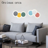 Nordic creative personality simple color LED round wall lamp bedroom corridor living room rear wall lamp