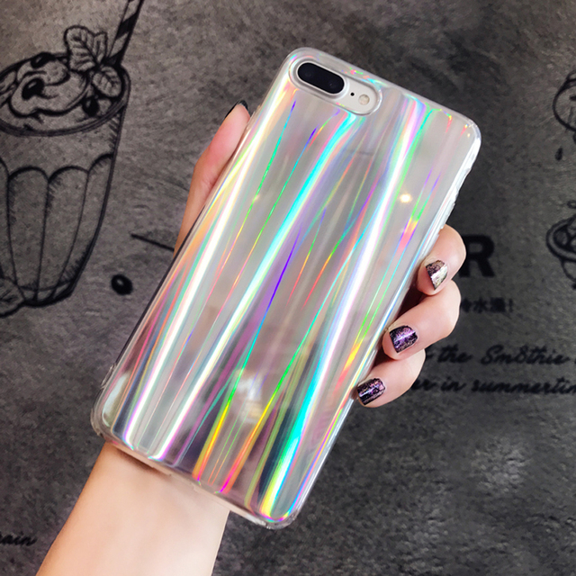 new product 479da 28757 US $2.99 30% OFF|LANCASE For iPhone 8 Case Cover Silicone Laser Slim Back  Cover for iPhone 8 Plus Hoesje fashion Full Protective Women Man Coque-in  ...