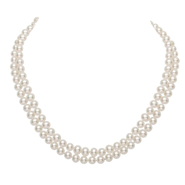 MADALENA SARARA AAA 7 8mm freshwater pearl necklace Two Rows, the brightest, flawless Natural White