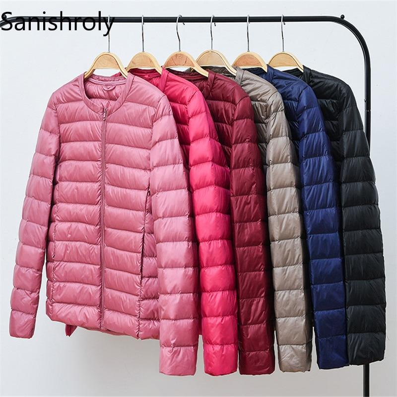 Sanishroly 2018 Autumn Winter Women Short Tops Thin White Duck   Down   Jacket Ladies Ultra Light   Down     Coat   Parka Plus Size 3XL S265
