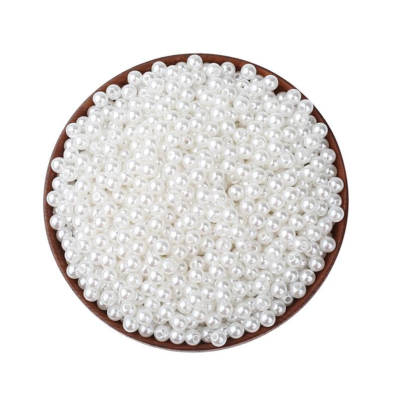 10-500 шт. белый круглый жемчуг бусины различных размеров для ювелирной разметки, Свободные Spacer бусины подвеска для браслета, ожерелья конечны...