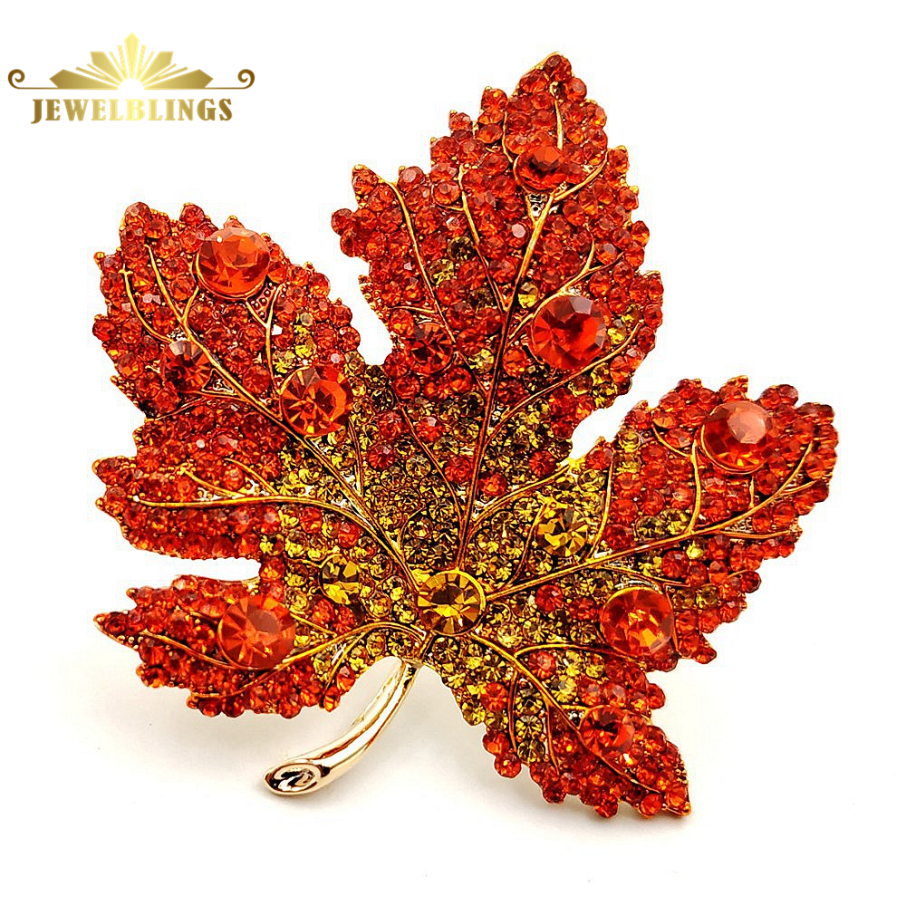 Vintage Stylish Full Micro Pave Yellow Orange Red Crystal Big Maple Leaf Brooch Gold Tone Canadian Maple Leaf Pin Autumn Jewelry-in Brooches from Jewelry & Accessories