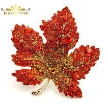 Vintage con estilo completo Micro pavé amarillo naranja rojo cristal gran broche de hoja de arce tono dorado hoja de arce canadiense Pin joyería de otoño