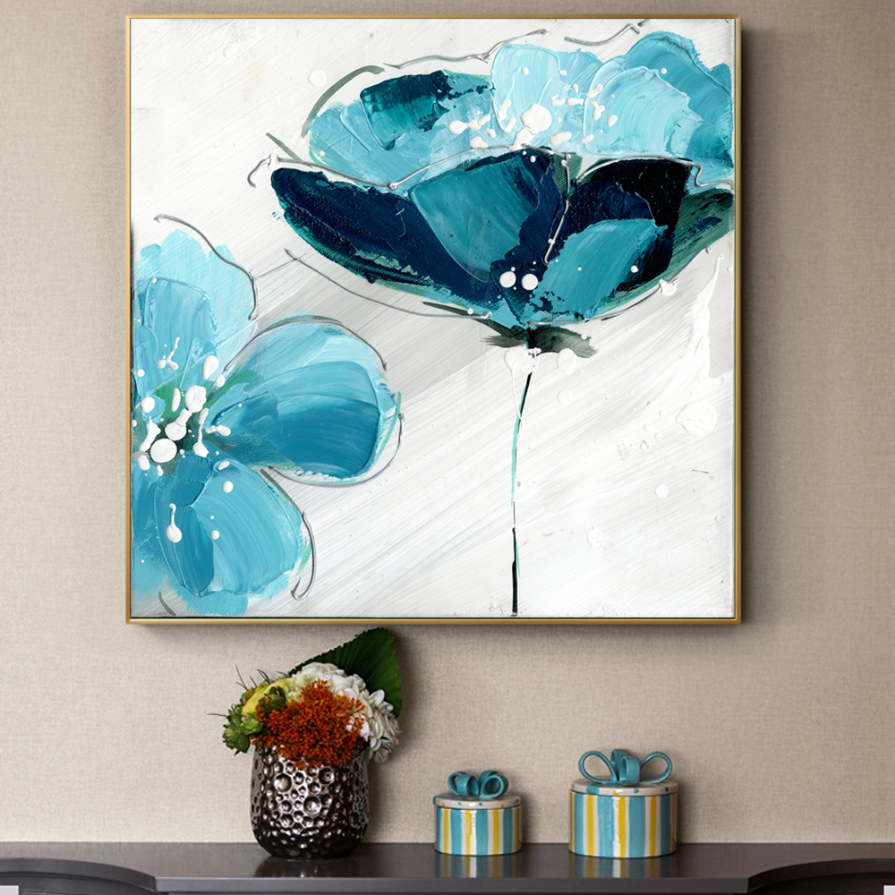 Us 4 3 35 Off Flower Oil Paintings Print On Canvas Large Light Blue Color Abstract Flowers Pictures For Living Room Wall Poster And Prints In