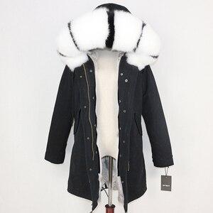 Image 4 - OFTBUY 2020 חורף מעיל נשים אמיתי פרווה מעיל ארוך Parka טבעי דביבון פרווה צווארון ארנב פרווה אניה עבה חם Streetwear חדש