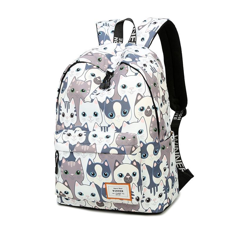 Waterproof Cat Printing Backpack Women School Students Back Pack Female 14-15.6 Inch Laptop Cute Book Bag For Girls #2