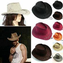 Новая женская мужская унисекс шляпа Дикого Запада Необычные ковбойские шляпы повседневные однотонные Модные западные головные уборы Кепка