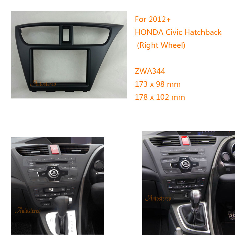 zw11-344 Car Radio Fascia For HONDA Civic Hatchback 2012+ Right Wheel Facia Panel Trim Dash CD 2 Double Din Audio Bezel dash car radio dvd cd fascia panel for faw oley 2012 stereo dash facia trim surround cd installation kit
