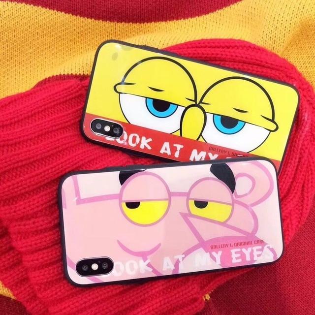 Super Cute Cartoon Spongebob Pink Panther Eyes Pattern Tempered