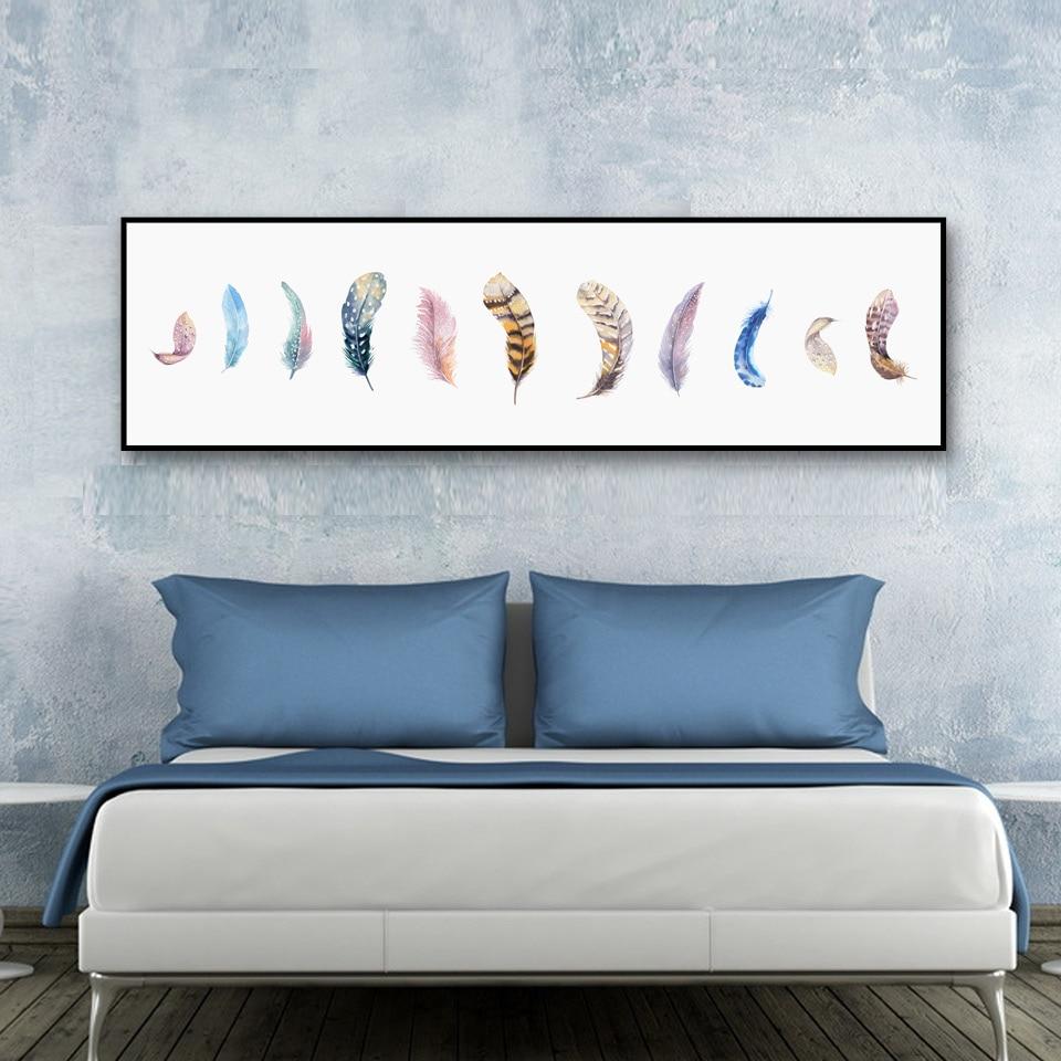 Nordic art feather poster minimalist canvas painting wall for Minimalist wall painting