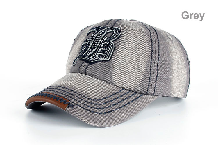 "Embroidered Letter ""B"" Denim Dad Hat - Grey Dad Hat"