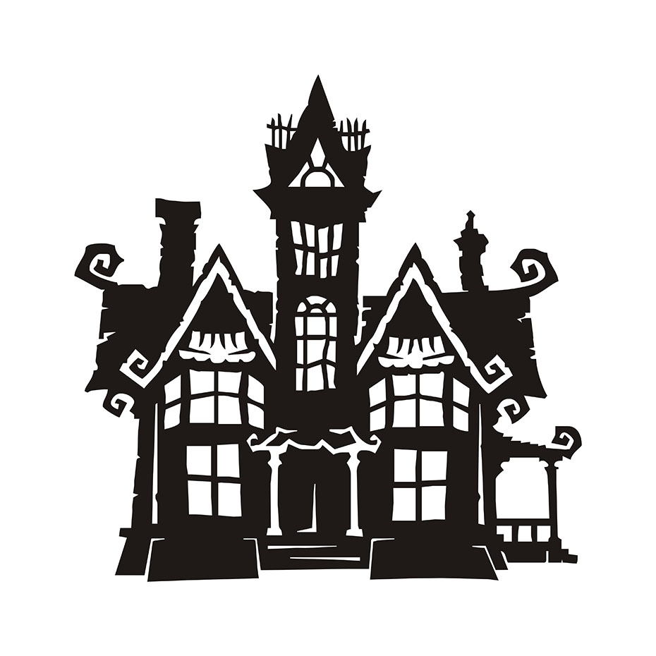 Diy black halloween haunted house halloween eve party home decals diy black halloween haunted house halloween eve party home decals building stencil wall sticker decor for living room kids rooms in wall stickers from home amipublicfo Gallery