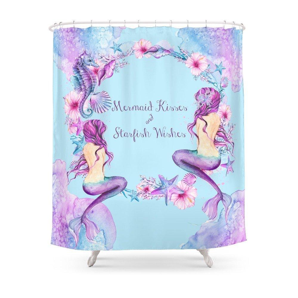 Mermaid Kisses And Starfish Wishes Shower Curtain Set Waterproof ...