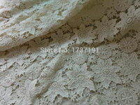 Half Yard Vintage Lace Fabric, Beige Cotton Guipure Fabric with Floral Pattern, Both Sides Scalloped Design