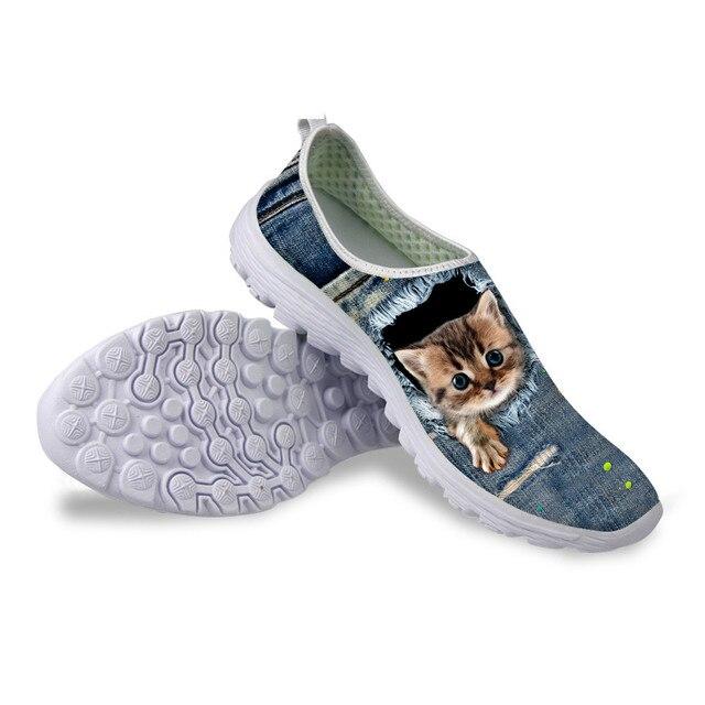 da47bad6eae4 ELVISWORDS Denim Cats 3D Pocket Mesh Women s Platform Sneaker 2018 Fashion  Women Animals Water Shoes Slip On Footwear