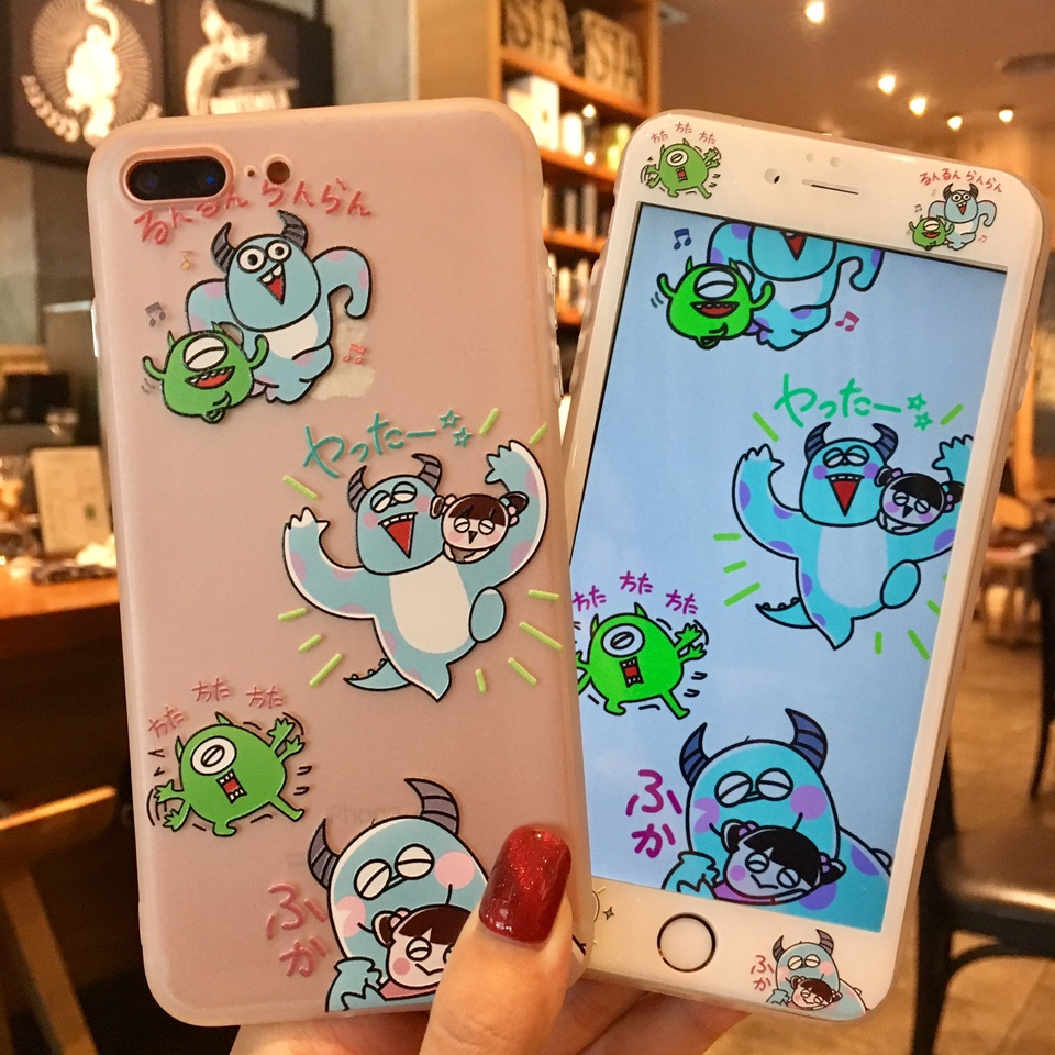 For iPhone 8 8Plus Toy story Case + Tempered Glass Screen film , Cute Monsters back Cover for iPhone 7 7plus 6 6S 6SPlus case