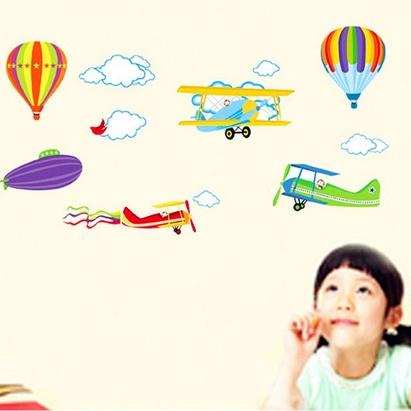 Airplane Balloon Wall Stickers Home Decor Boy Bedroom Home Decorations DIY Cartoon Wall Creative Kids Room Wall Art