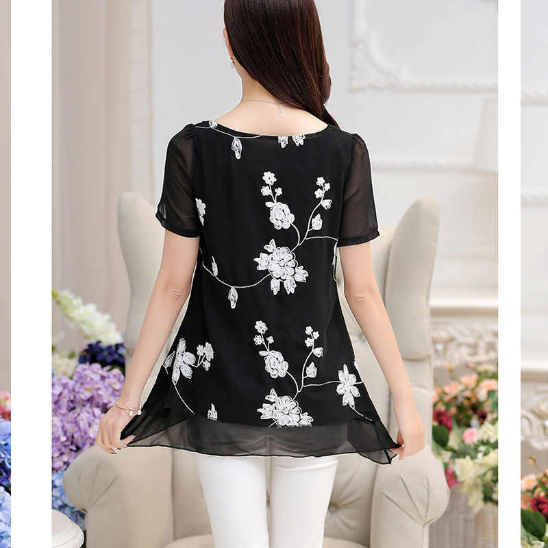 Летняя винтажная женская шифоновая блузка, рубашка с круглым вырезом и коротким рукавом, Женская туника, Повседневная блузка больших размеров, Kimonos mujer, 2019, кружевной топ