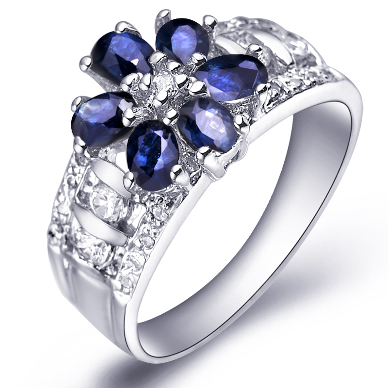 Natural Sapphire Night Blue Ring 925 Sterling silver Flower Woman Fashion Fine Elegant Jewelry Princess Birthstone Gift SR0203S natural pink ruby ring flower in 925 sterling silver fancy sapphire jewelry fashion elegant luxury birthstone gift sr0159r