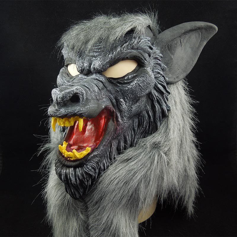 new hot halloween wolf mask animal head scary creepy werewolf mask cosplay black mask for party monster latex mask props maskers