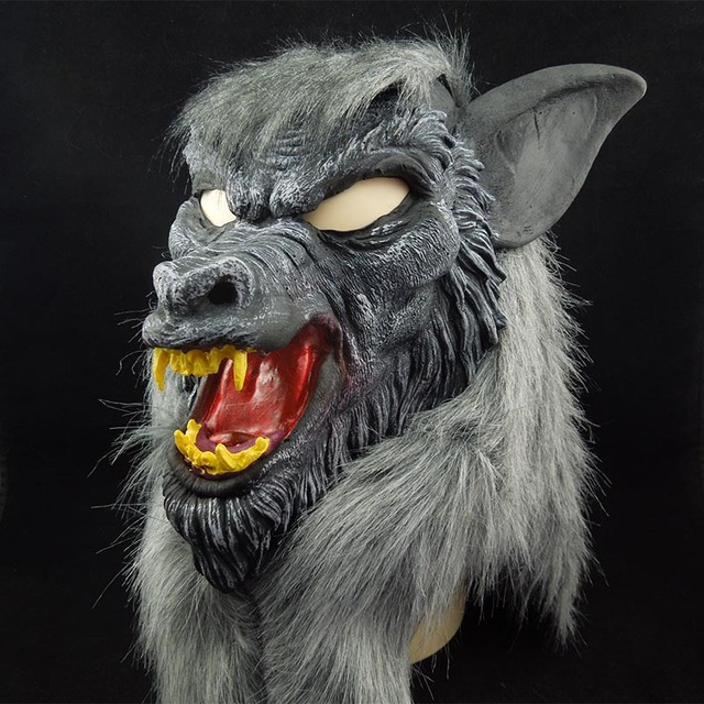 new hot halloween wolf mask animal head scary creepy werewolf mask cosplay black mask for party - Halloween Werewolf