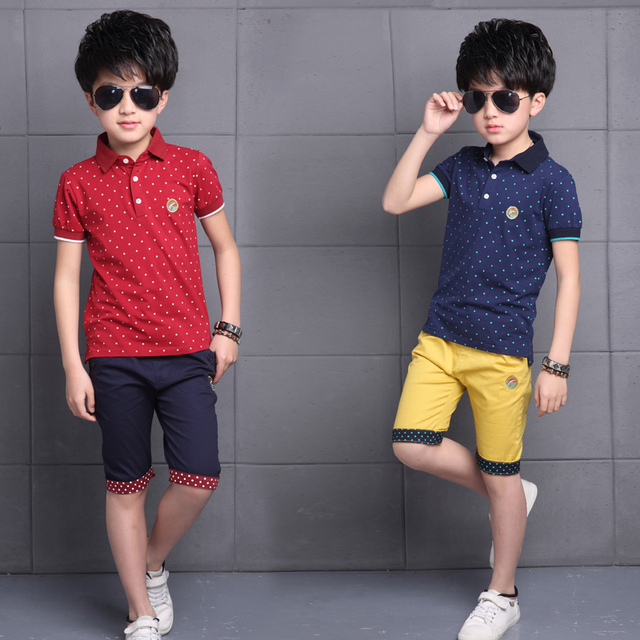 73166e93 Foreign Trade 2018 Summer Big Boys Fashion Dot Clothing Sets Kids Casual  Lapel Tops + Five Pants 2 Pcs Children's Clothes G624