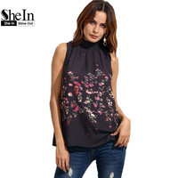 SheIn Womens Tops And Blouses For Summer Ladies 2016 Fashion Multicolor Floral Print High Neck Sleeveless