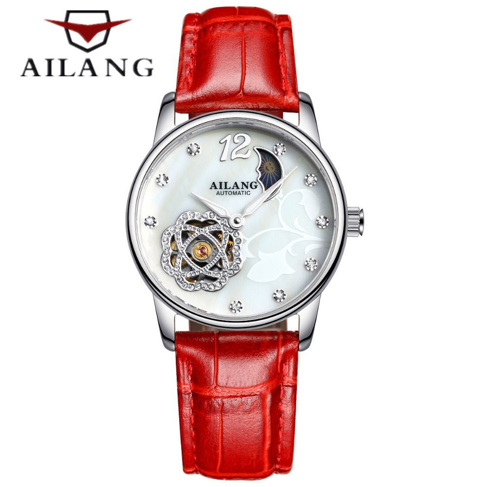 New Skeleton Watch Women Luxury Brand Famous Fashion Automatic Mechanical Watch Ladies Dress Wristwatch Relogio feminino free shipping winner watch women fashion mechanical ladies dress wristwatch red diamond design luxury women watch famous brand