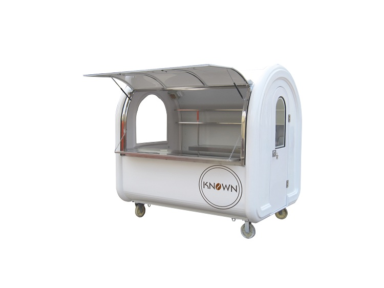 High quality 4 small wheels food trailer mobile food cart fast food truck with light and two tanks free shipping by sea fast food and fast media