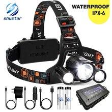 Faro delantero LED superbrillante 3xT6, lámpara de pesca impermeable, 4 modos de iluminación, para camping, batería 18650