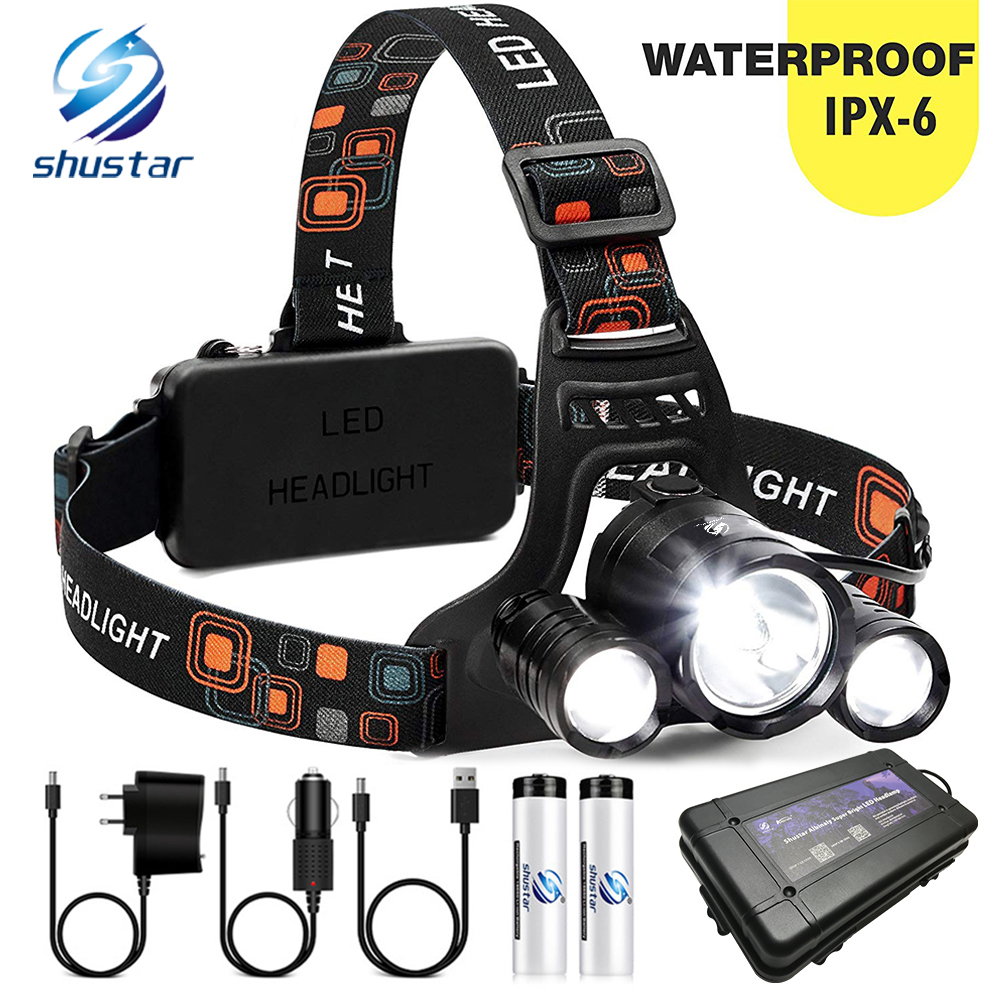 Super Bright LED Headlamp 3xT6 Led Headlight Waterproof Fishing Lamp 4 Lighting Modes Camping Lamp Use 18650 Battery