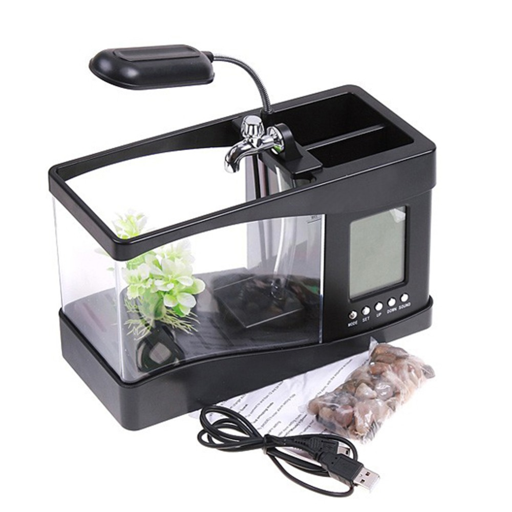 Mini USB LCD bureau Aquarium Aquarium horloge minuterie calendrier lumière LED lampe BS