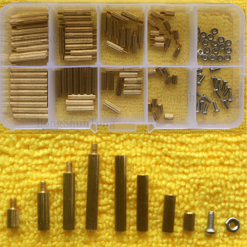 120pcs PCB M2 Male Female Threaded Brass Spacer Standoffs Screw Nut Assortment Set