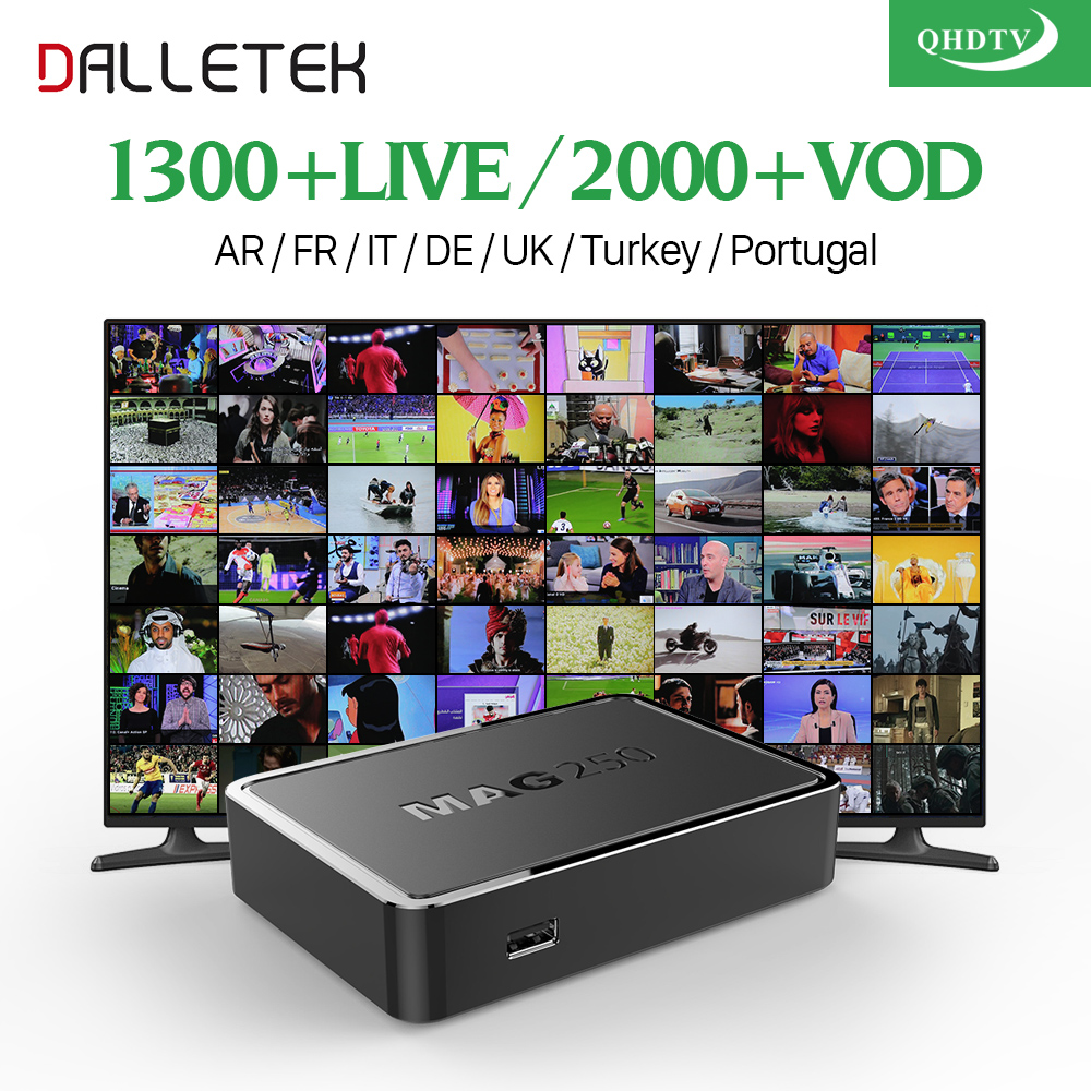 Dalletektv Linux MAG 250 IP TV Box Europe Arabic Iptv Box QHDTV Code IPTV Subscription Spain UK Turkish French MAG250 IPTV Box